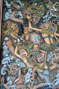 Traditional Balinese Art-Anak Agung Gedi Meregig. C 1980's. From the Ramayana epic. Hanoman is top right, attacked by monkeys.